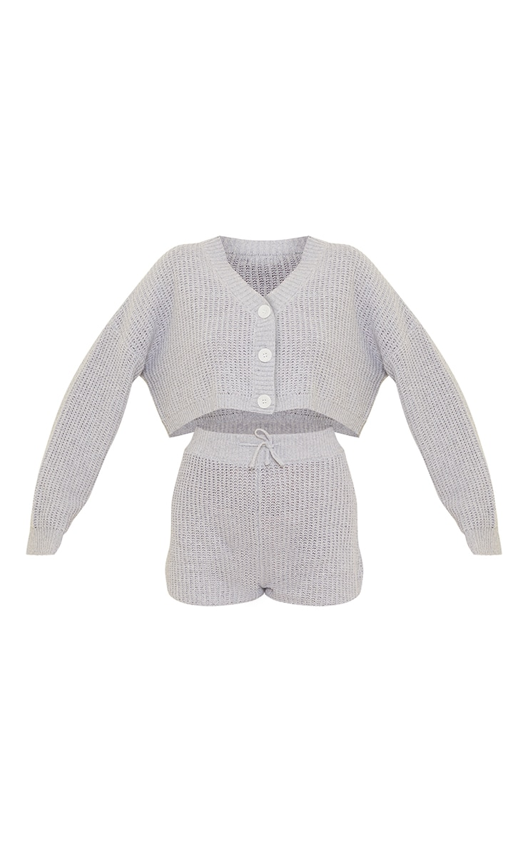 Grey Button Up Ribbed Knitted Short Lounge Set 5
