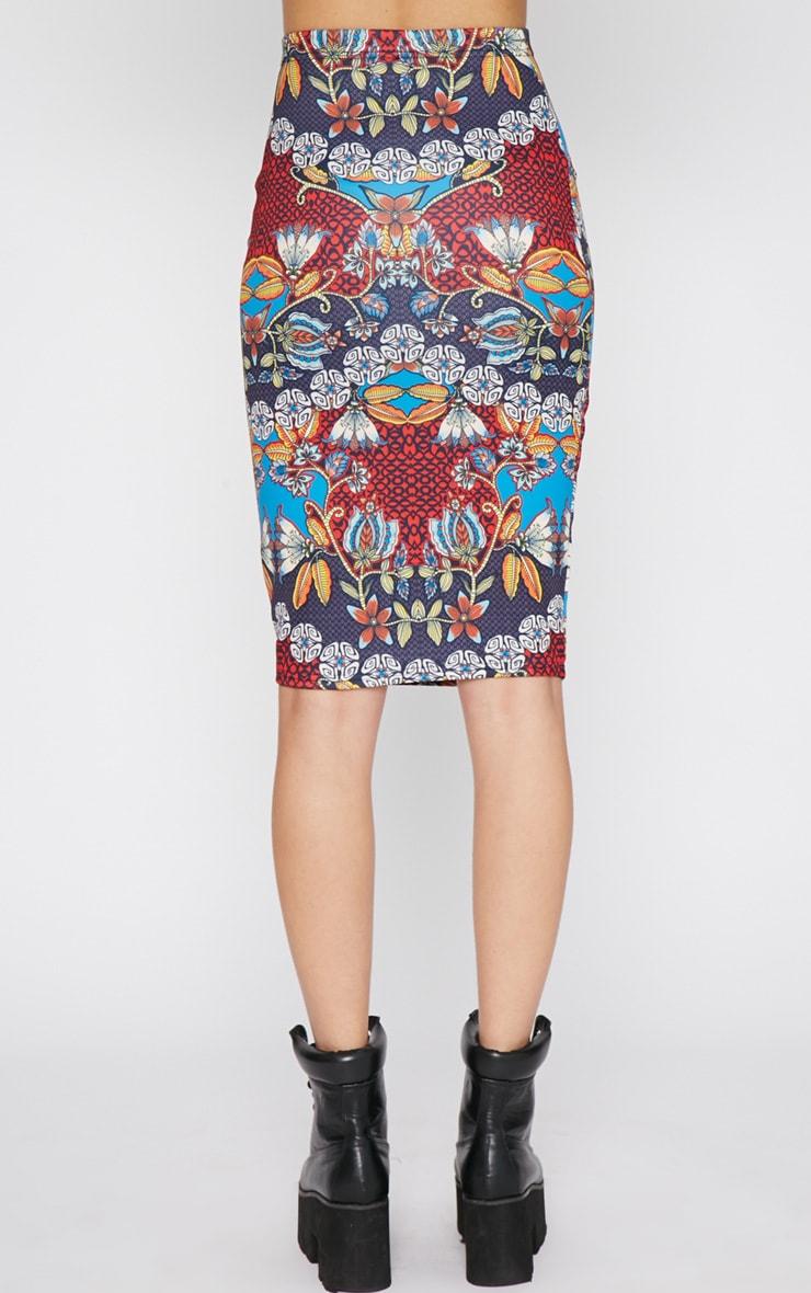 Yoko Tribal Print Midi Skirt 2
