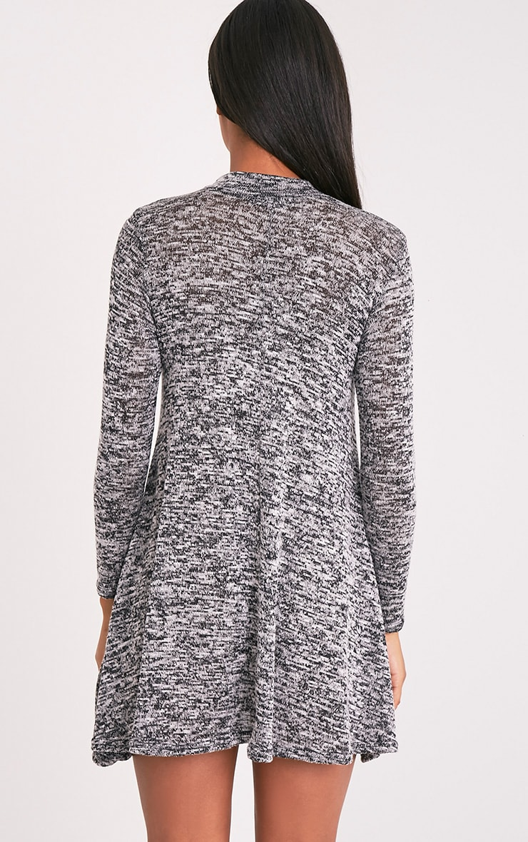 Annwyl Grey High Neck Long Sleeved Swing Dress 4