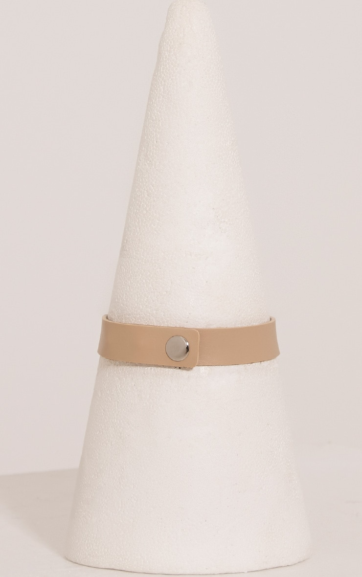 Ariana Nude Faux Leather Ring Detail Choker 4