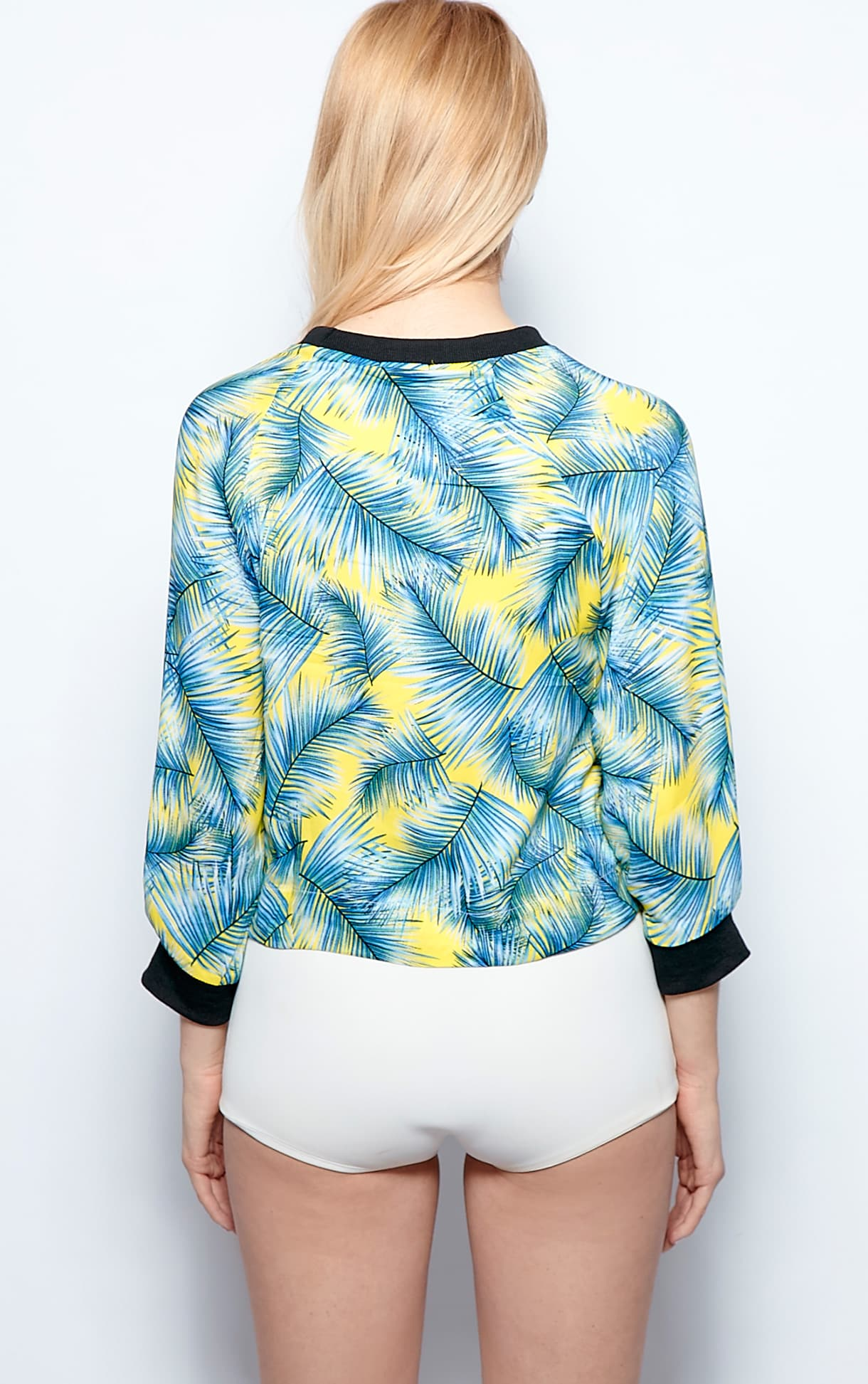 Mina Silk Chiffon Palm Print Top 2