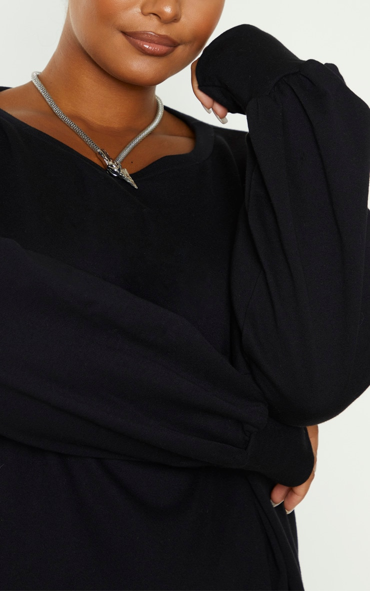 Plus Black Oversized Sweatshirt Dress 5
