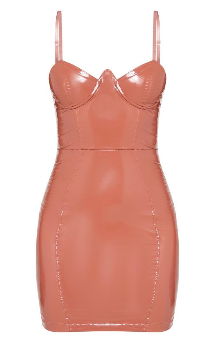 Mocha PU V Bar Strappy Bodycon Dress 3