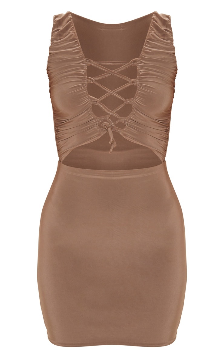 Mocha Slinky Lace Up Bust Detail Ruched Bodycon Dress 3