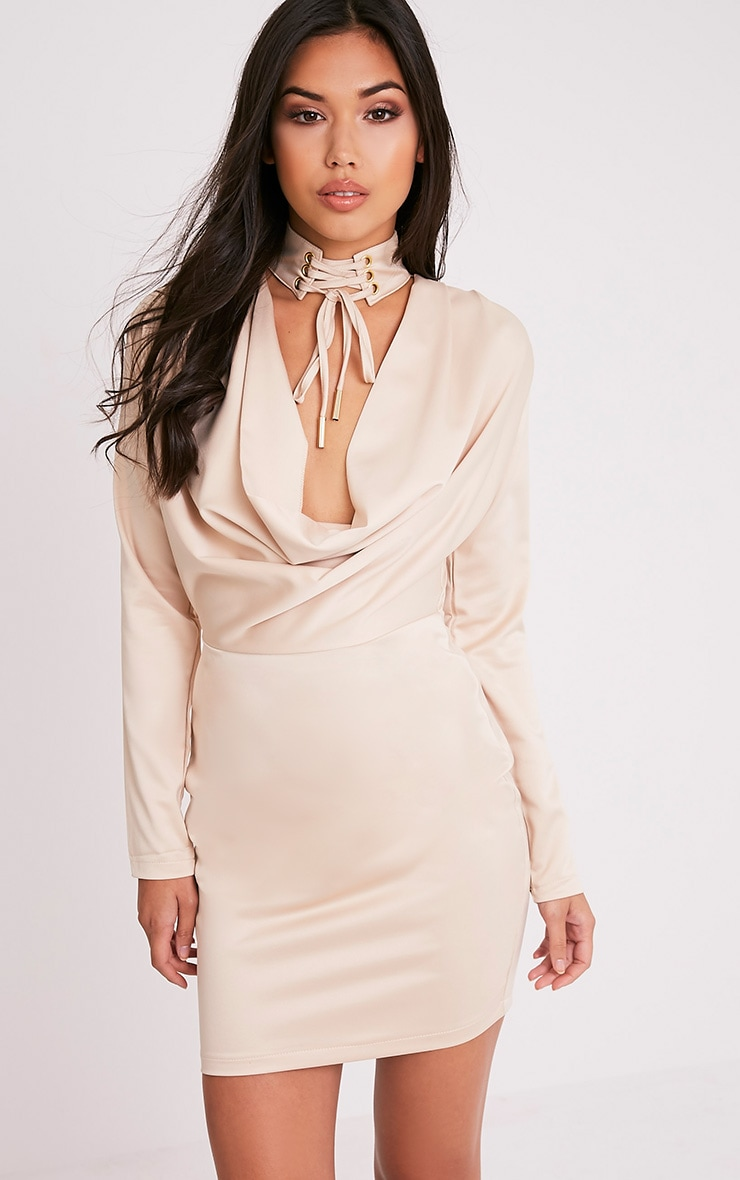 Chrissie Champagne Lace Up Satin Bodycon Dress 1