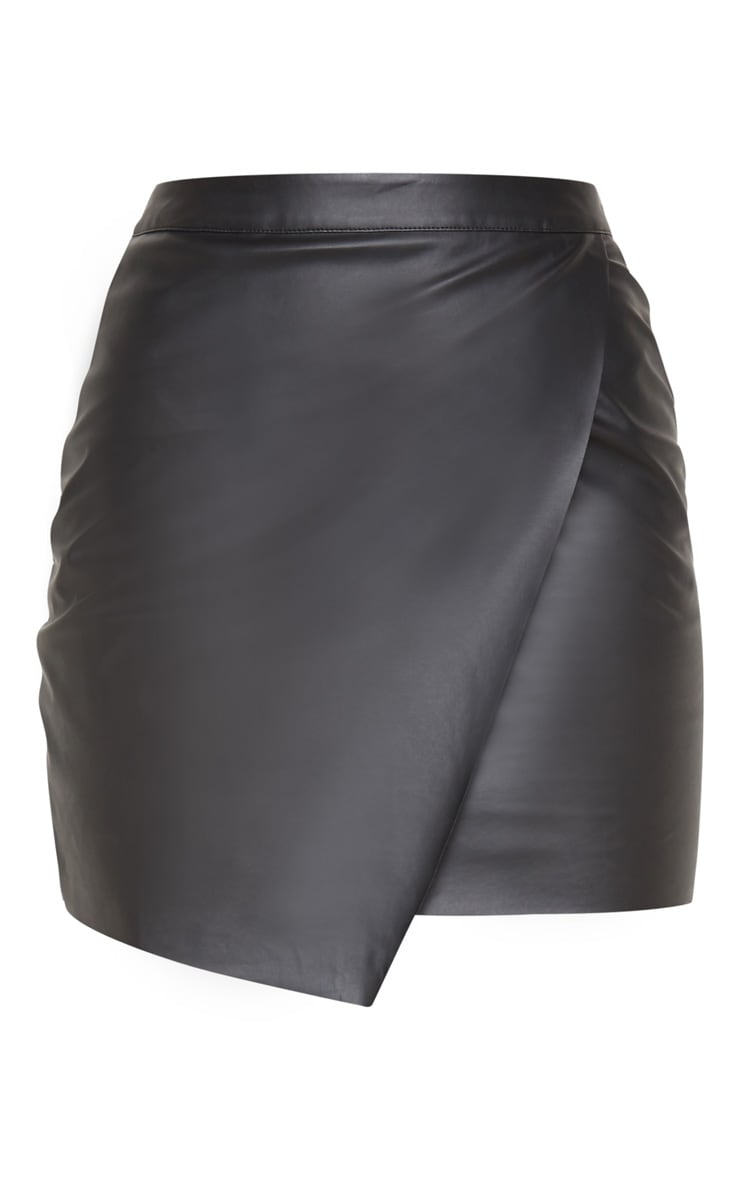 Luisa Black Faux Leather Wrap Mini Skirt  3