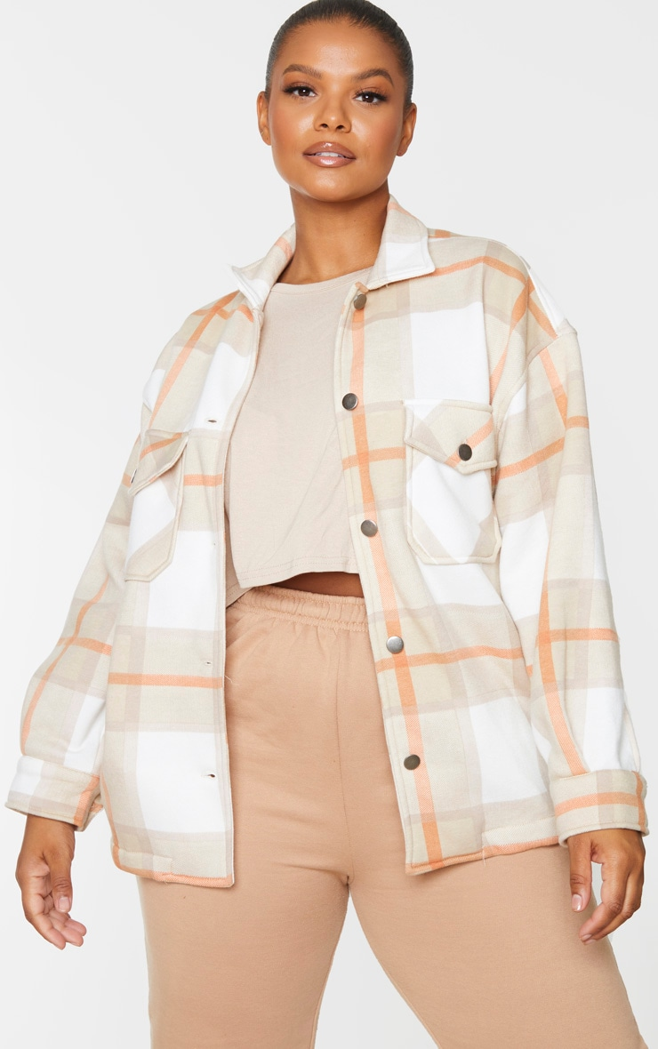 Plus Brown Checked Pocket Front Shacket 1