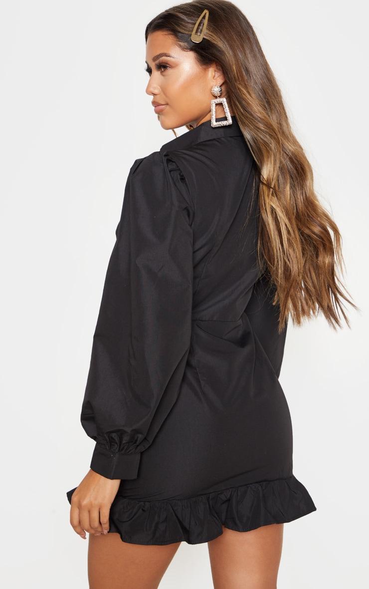 Black Ruched Front Frill Hem Shirt Dress 2
