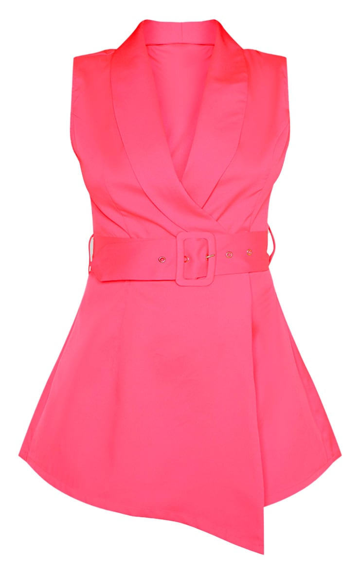 Pink Tailored Belted Romper 3