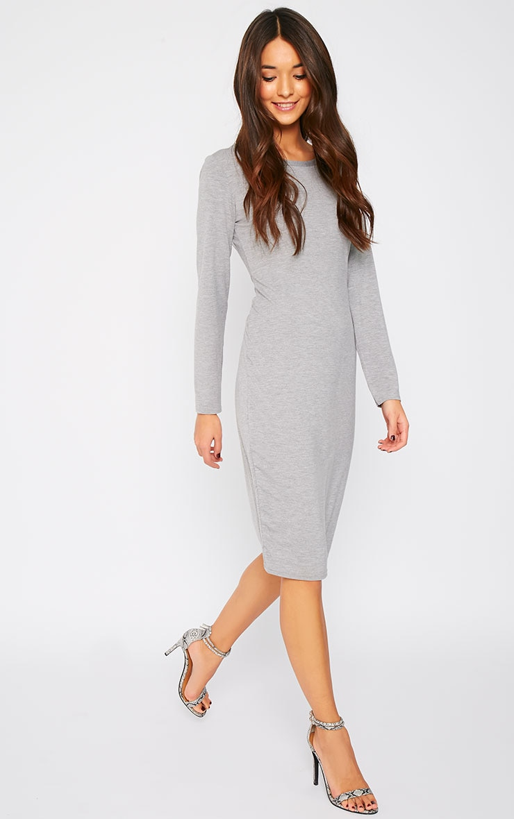 Amity Grey Long Sleeve Jersey Dress  1