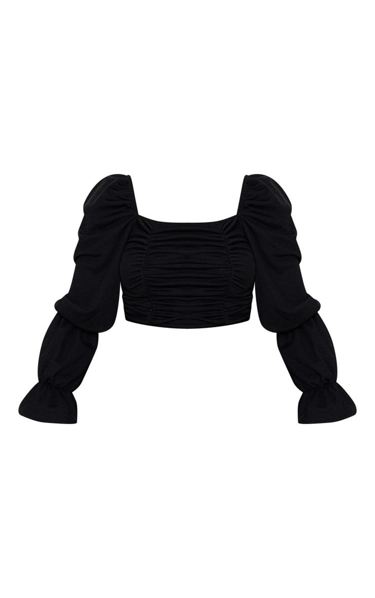 Black Crepe Ruched Detail Long Sleeve Crop Top 1