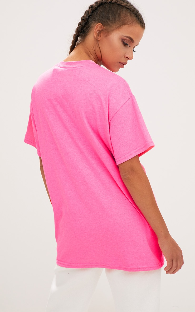 Pheonix Slogan Bright Pink Oversized T Shirt 2