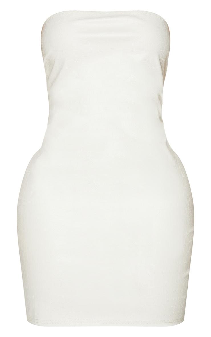 Shape Cream Croc Embossed PU Bandeau Bodycon Dress 5