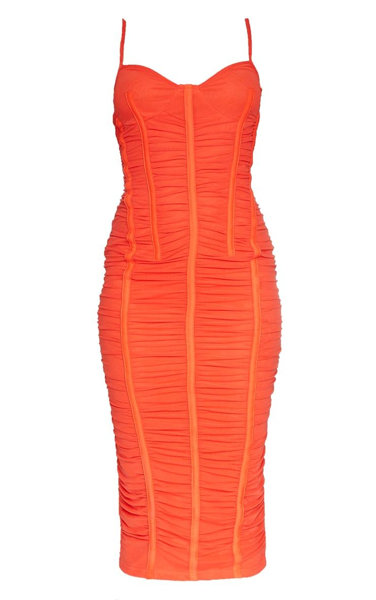 Orange Strappy Mesh Ruched Satin Binded Midi Dress 5