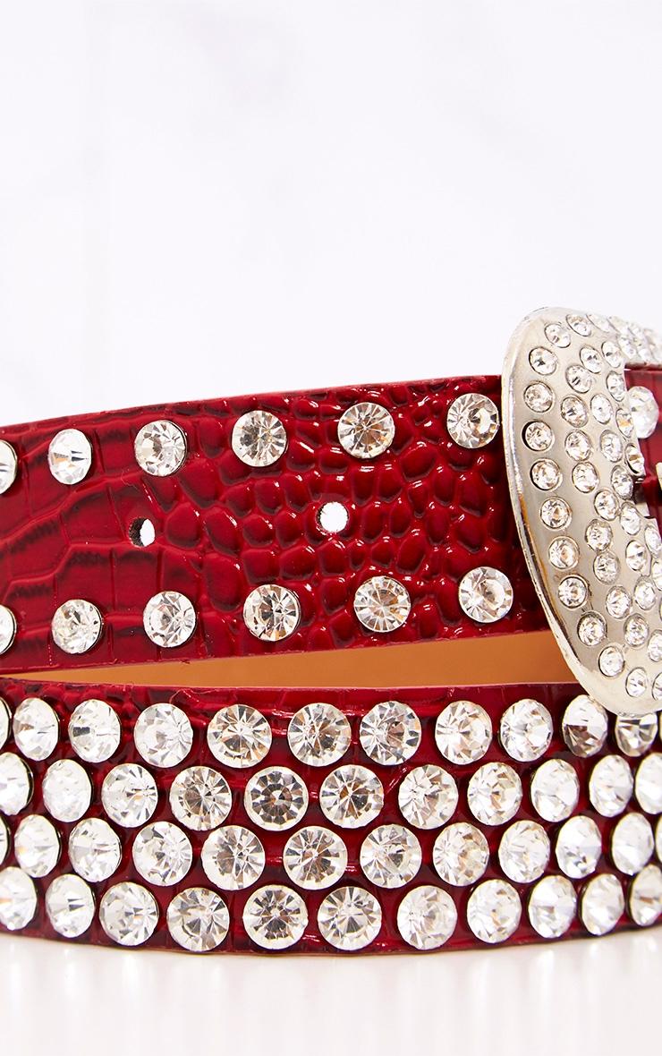Red Diamante Studded Belt 5