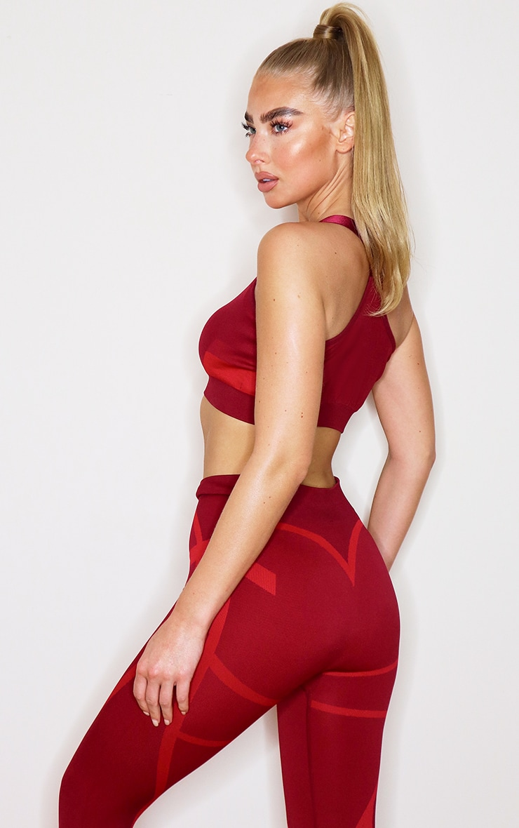 Red Colour Block Seamless Gym Crop Top 2