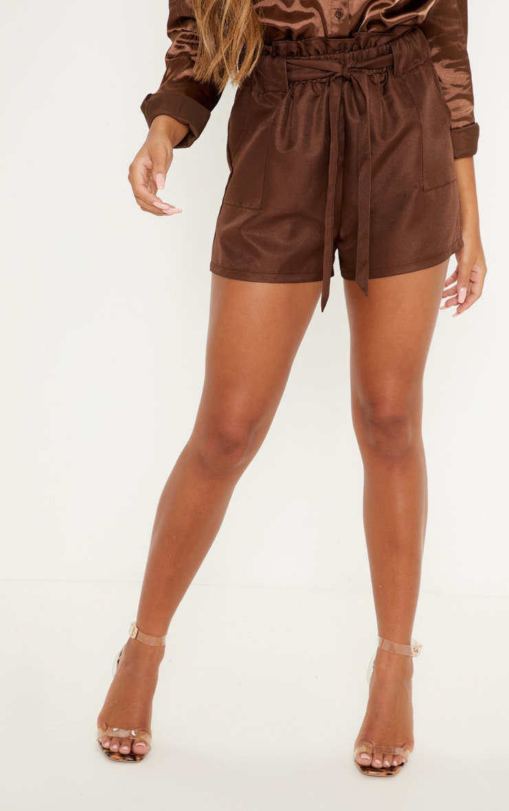 Chocolate Tailored Ruched Tie Waist Short 2