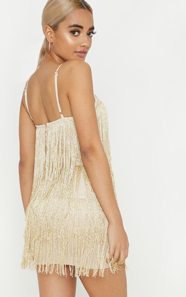 Petite Gold Tassel Strappy Mini Dress 2