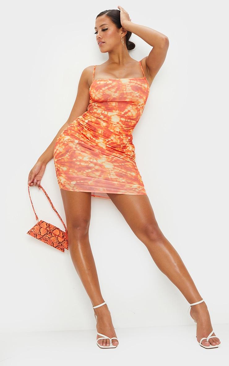 Shape Orange Tie Dye Slinky Cut Out Back Bodycon Dress 3