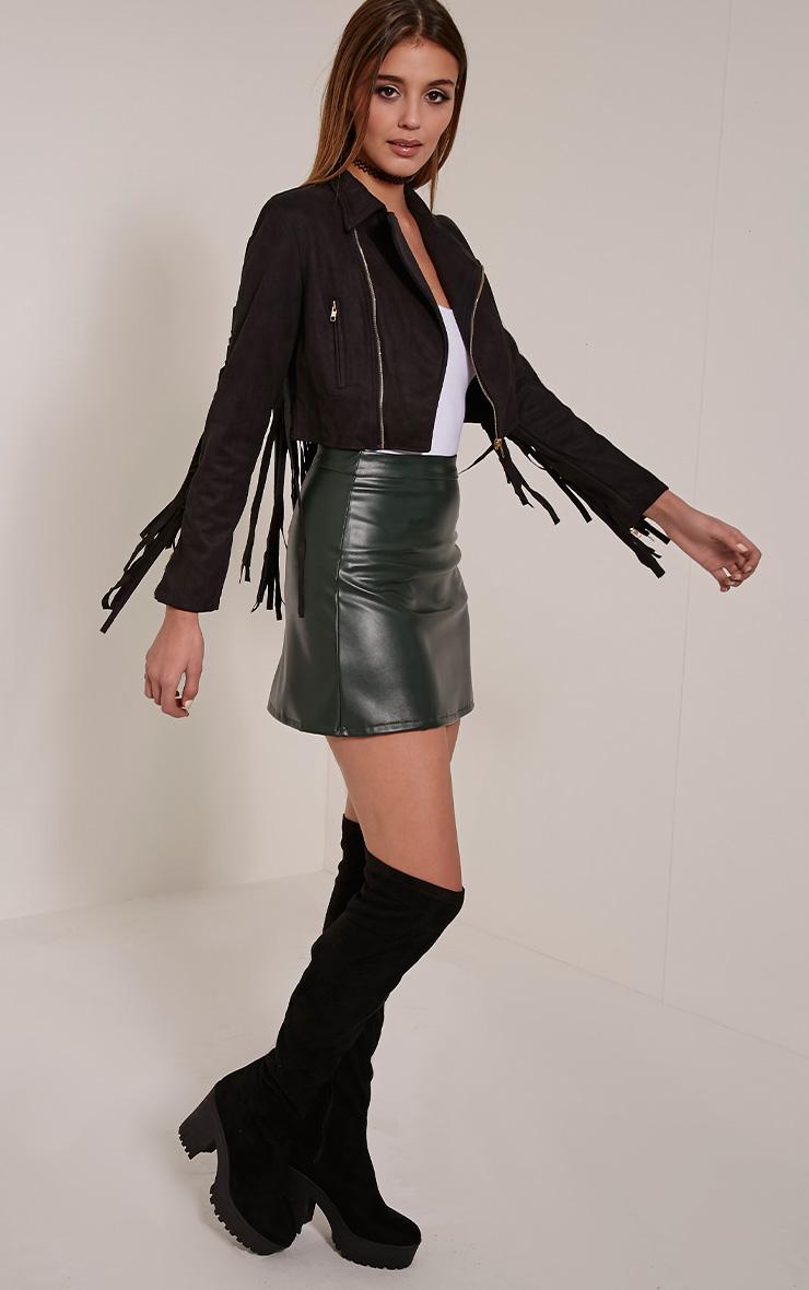 Harriet Black Faux Suede Biker Jacket 3