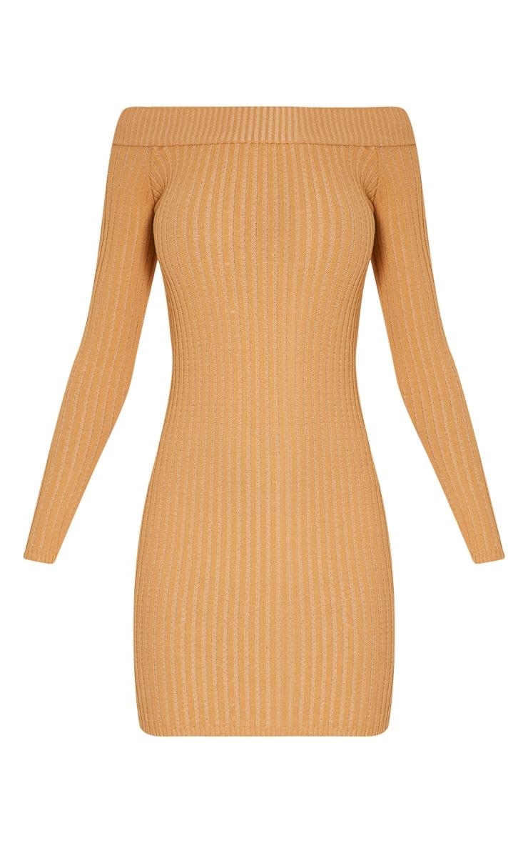 Julia robe pull mini bardot camel 3