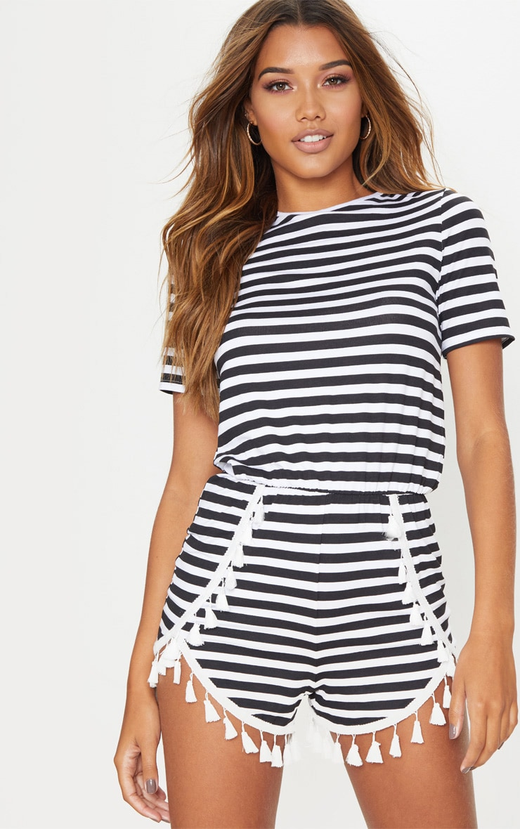 Monochrome Striped Tassel Trim Playsuit