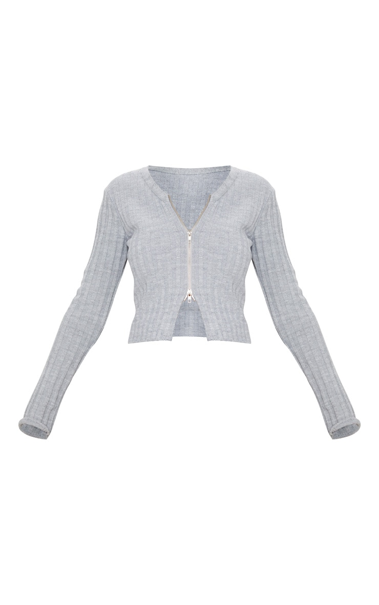 Grey Double Ended Zip Wide Rib Knitted Top 5