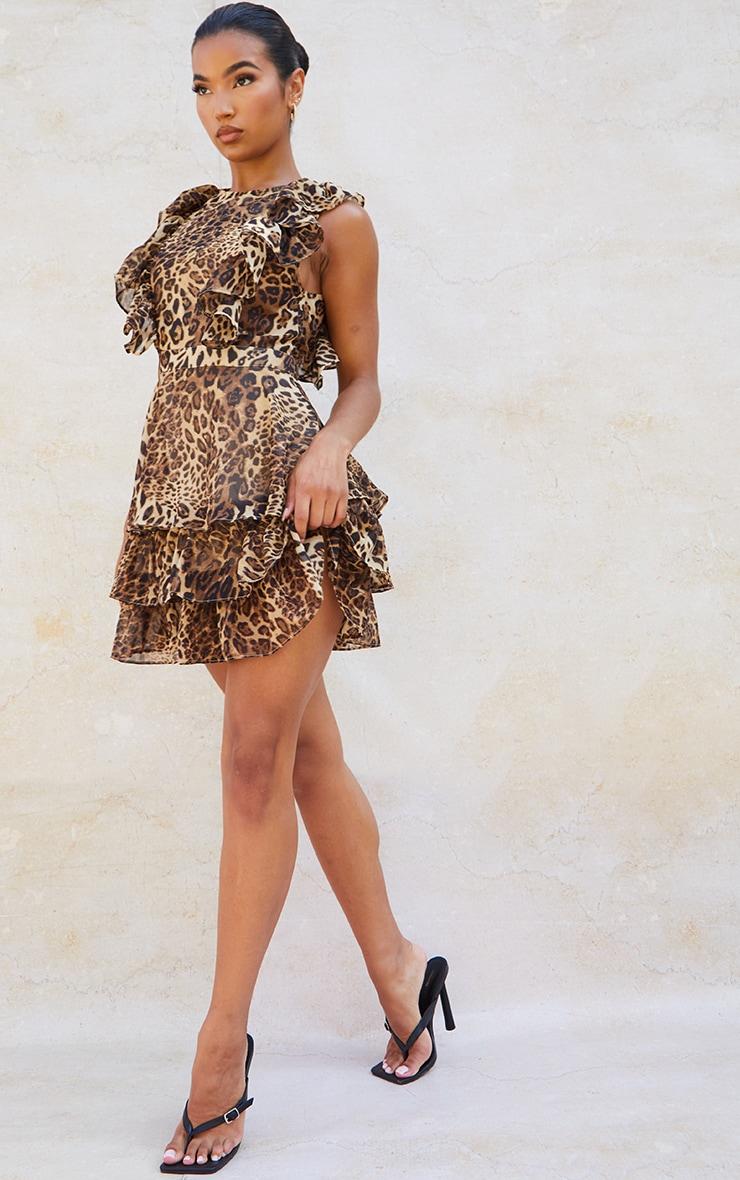 Tan Leopard Print Chiffon Open Back Tiered Skater Dress 3