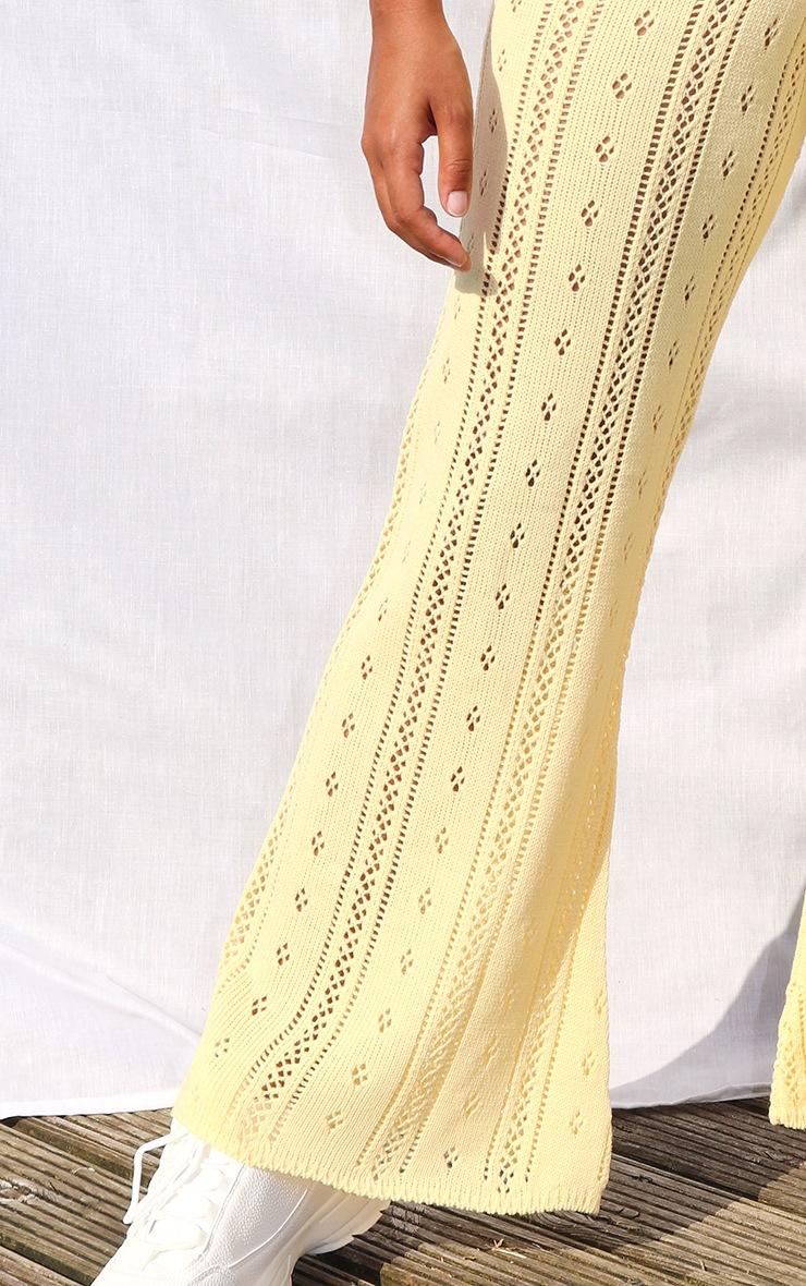 Petite Lemon Pointelle Knit Wide Leg Trousers 4