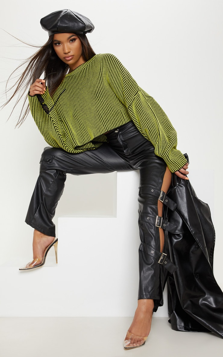 Lime Two Tone Knit Batwing Cropped Jumper 4