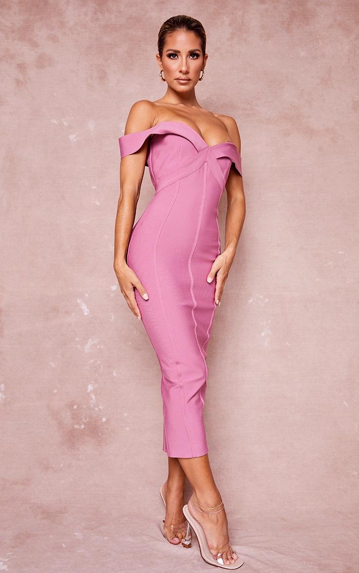 Mauve Bandage Bardot Binded Midi Dress 3
