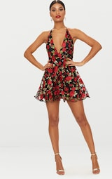 d5b33399 Black Floral Embroidered Halterneck Plunge Skater Dress image 4