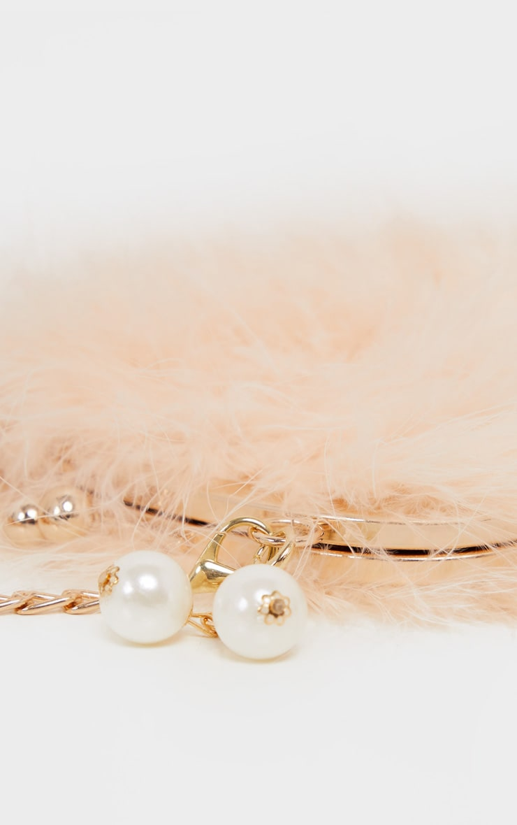 Nude Pink Marabou Feather Cross Body Bag 2