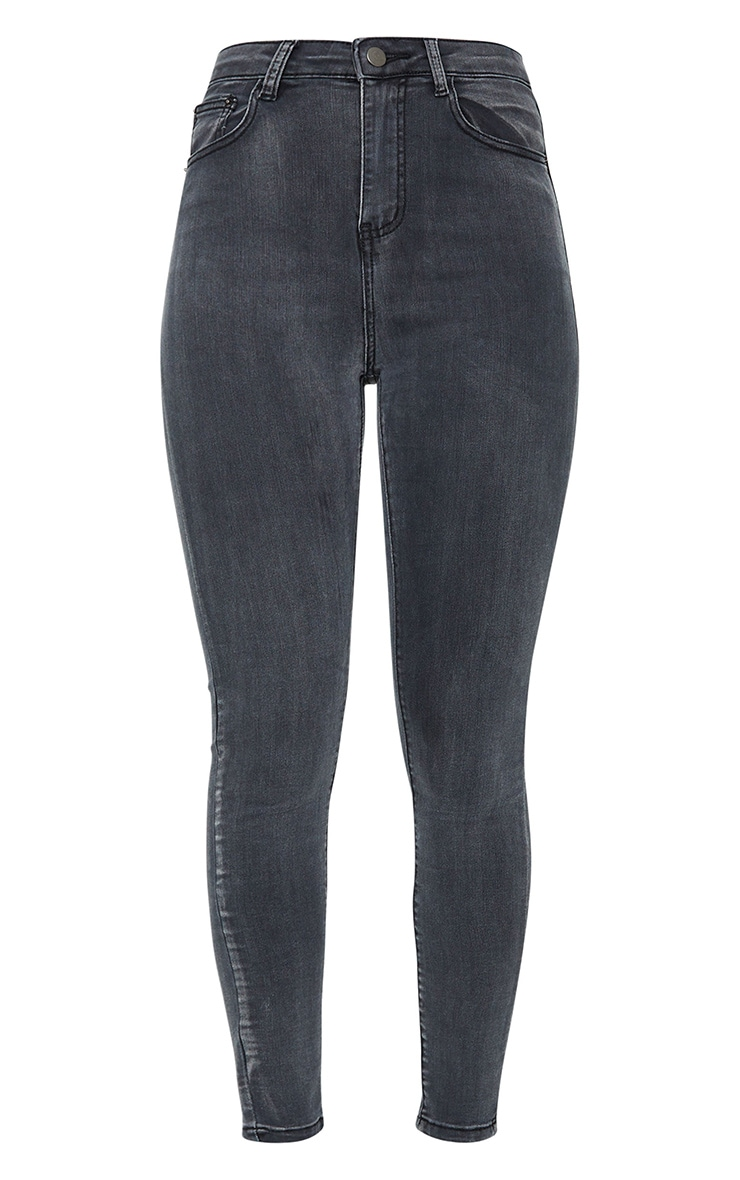 PRETTYLITTLETHING Washed Black Bum Rip 5 Pocket Skinny Jeans 5