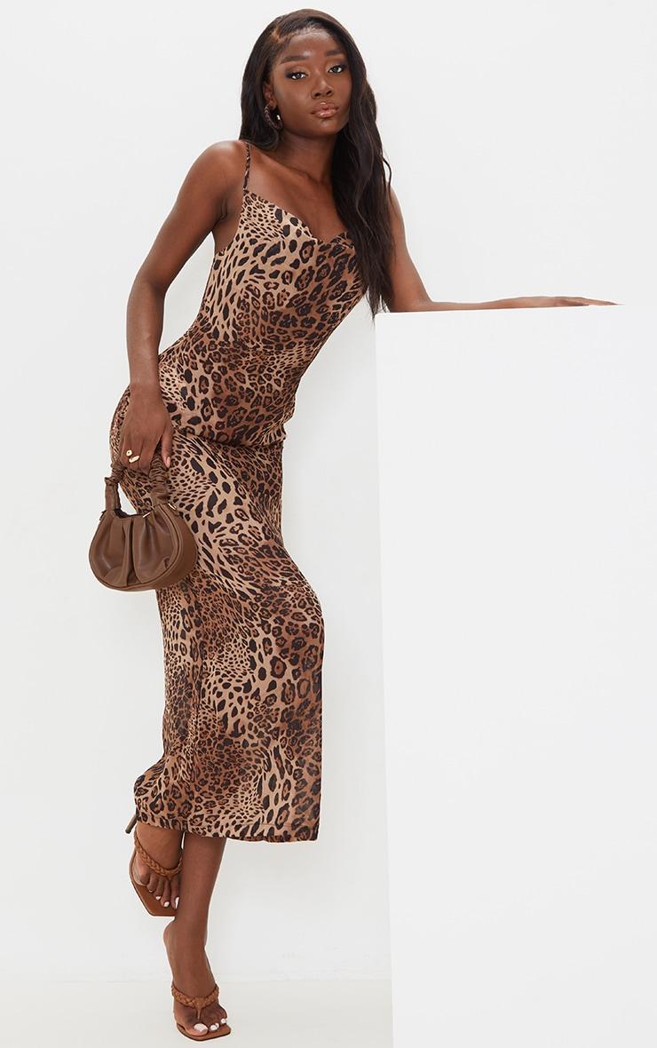 Tall - Robe longue en mesh imprimé léopard marron à col bénitier et bretelles 1