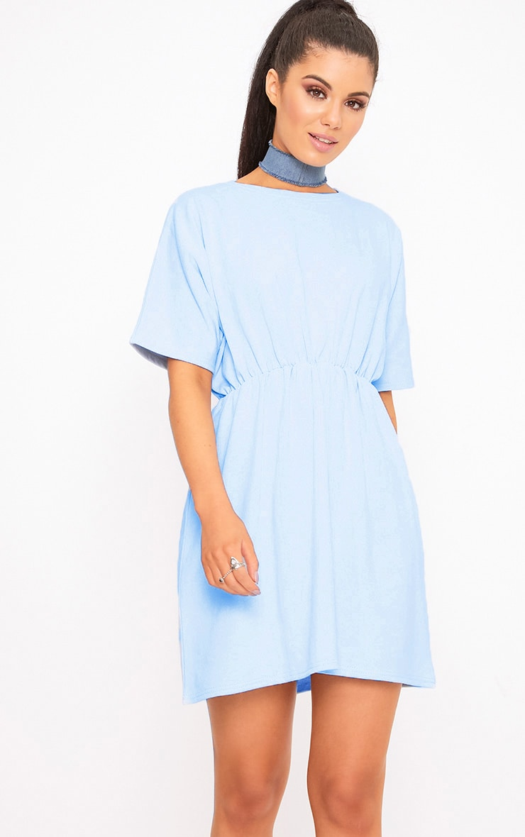 Baby Blue Waist Detail Sweater Dress 1