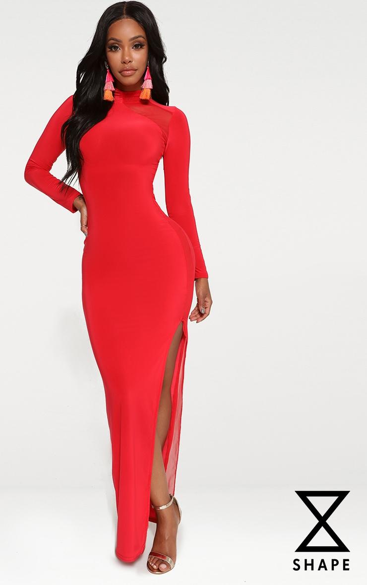Shape Red Slinky Mesh Insert Maxi Dress 1