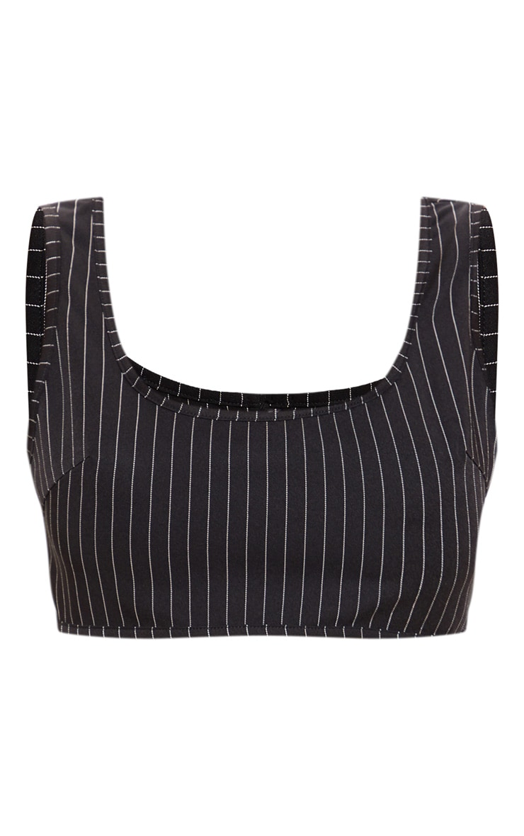 Black Pinstripe Sleeveless Scoop Neck Crop Top 3