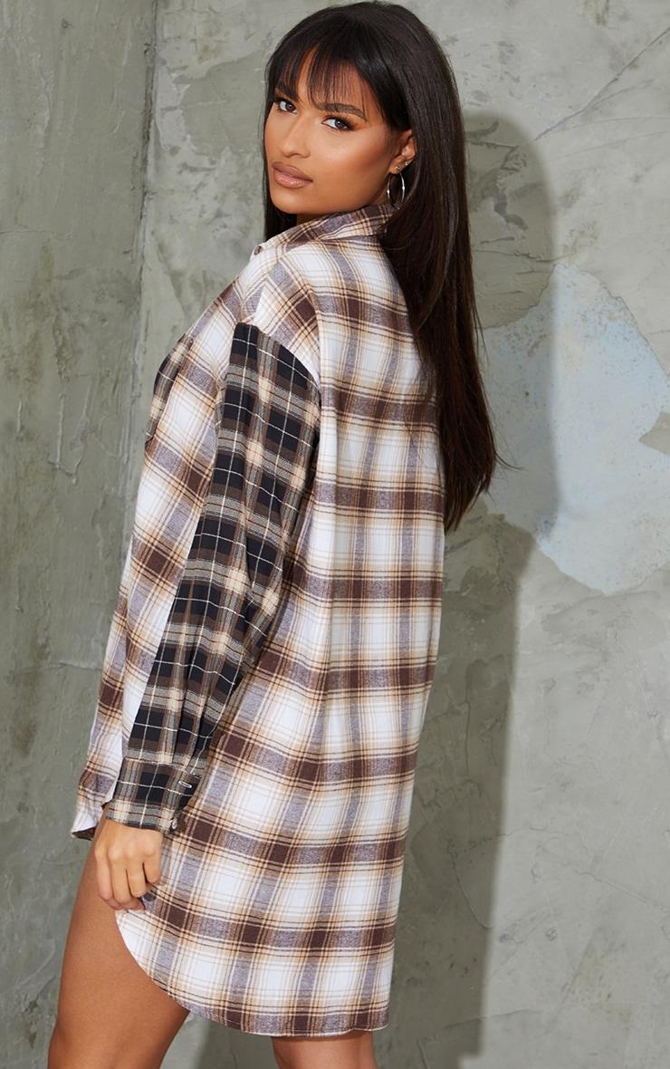 Beige Contrast Check Shirt Dress 2