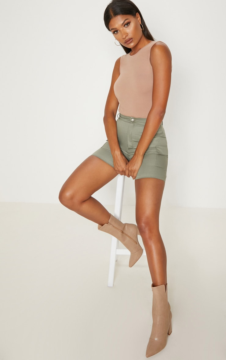 Taupe Cut Out Back Sleeveless Bodysuit 5