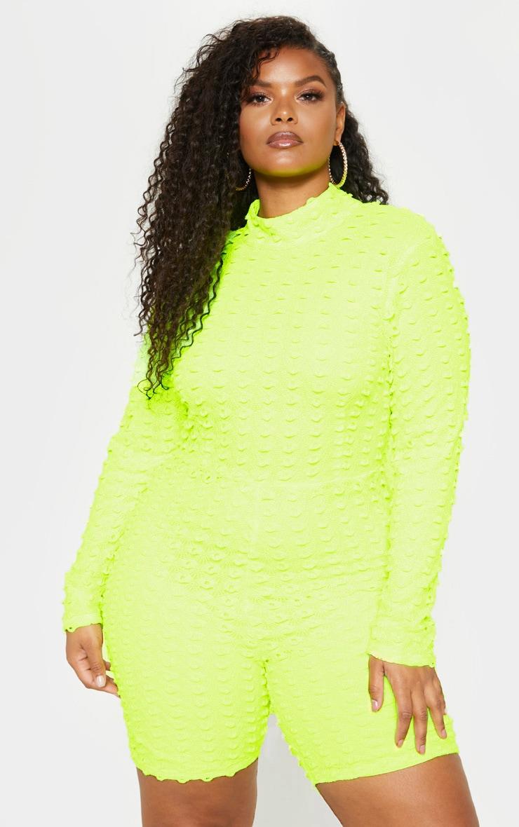 Plus Neon Yellow Crochet Unitard 2