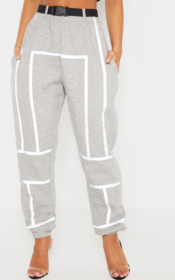 Dove Grey Belted Reflective Tape Cuffed Jogger 2