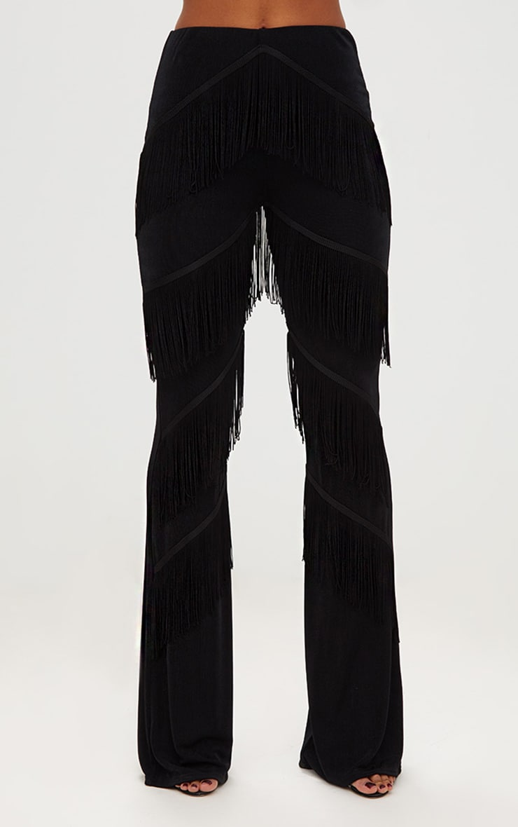 Black Slinky Tiered Fringe Flared Trousers 2