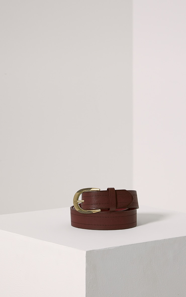 Helene Burgundy Wide Leather Belt 1