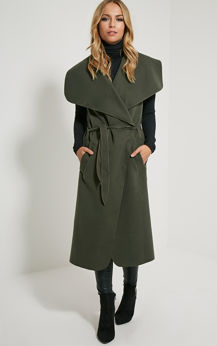 Valerie Dark Khaki Sleeveless Waterfall Coat 4