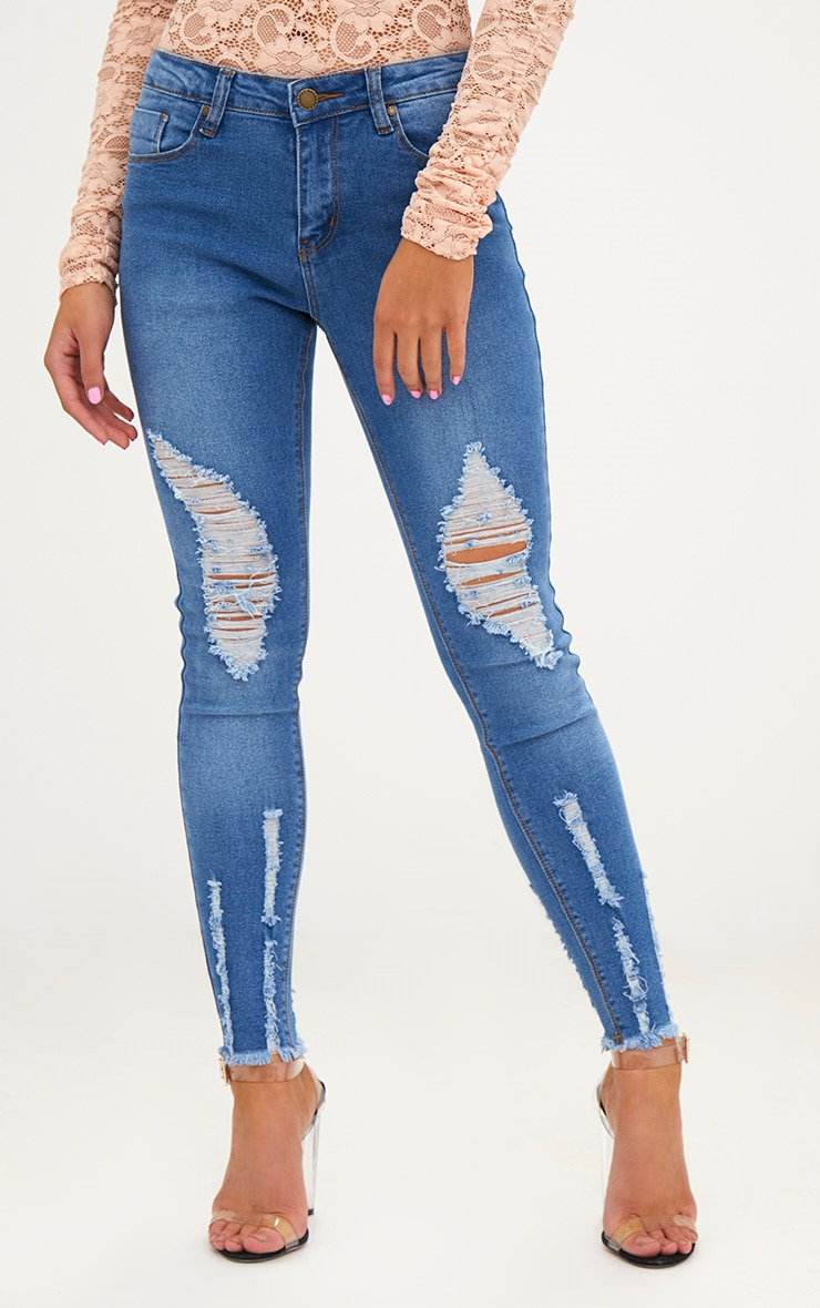 Petite Mid Blue Wash Ripped Skinny Jeans 2