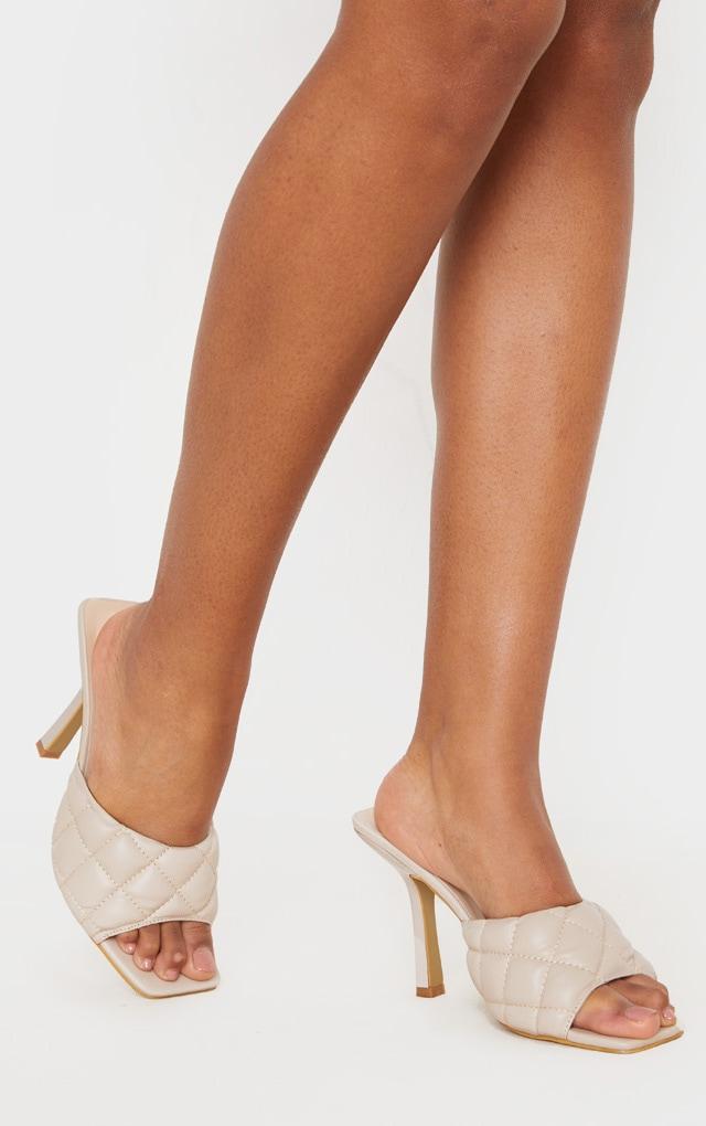 Nude Quilted High Heel Mule 2