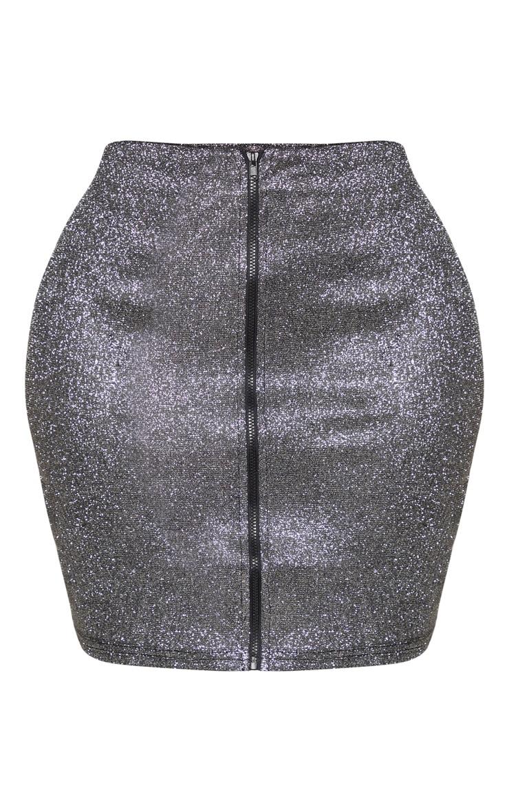 Shape Black Glitter Zip Front Bodycon Skirt  3