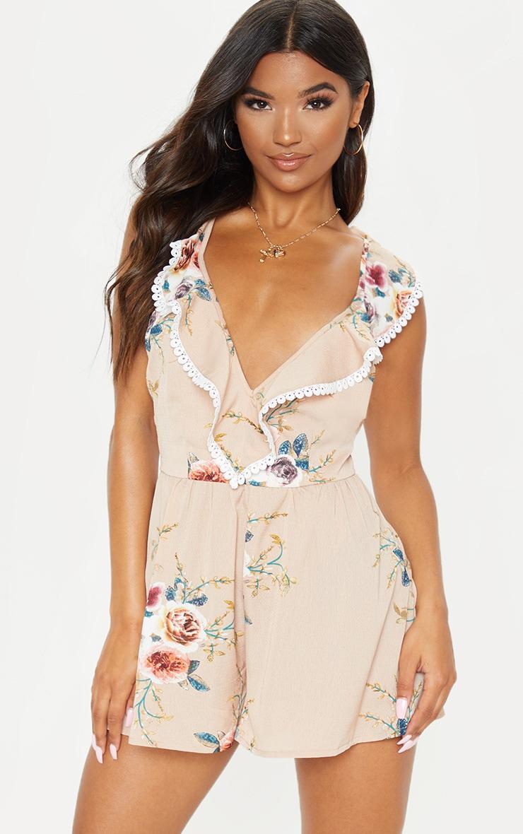 Nude Floral Print Lace Trim Tie Back Playsuit 4