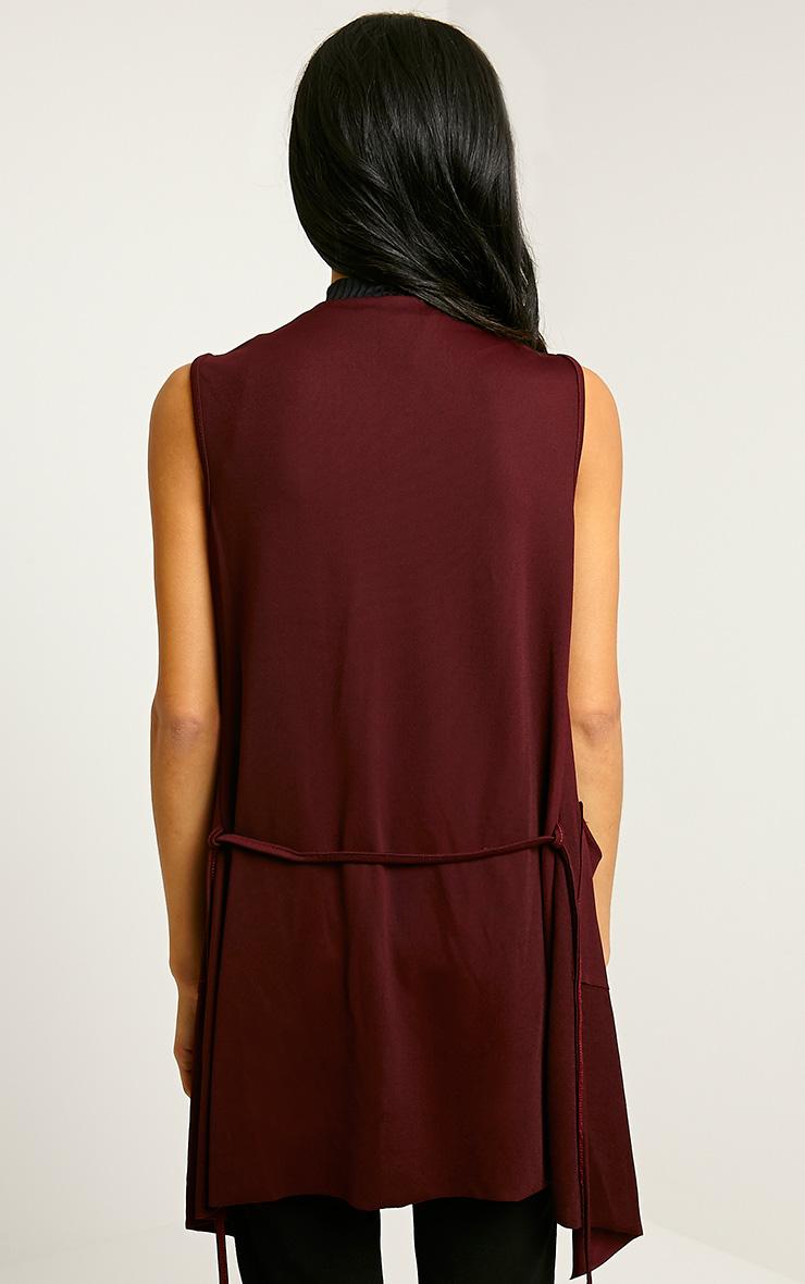 Mirabel Burgundy Belted Sleeveless Jacket 2
